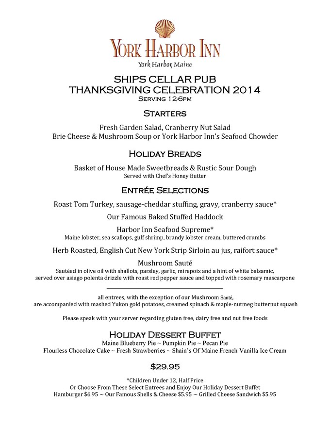 Cellar Pub Thanksgiving Menu 2014